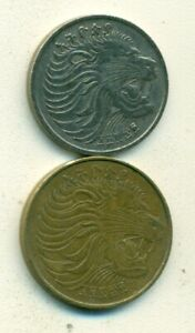 2 DIFFERENT COINS from ETHIOPIA - 5 & 10 CENTS w/ SAME, BUT UNKNOWN DATES..Lot 1