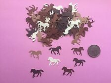 100 SMALL BROWN HORSE HORSES DIE CUTS PUNCHES CONFETTI 1 INCH 5 BROWN SHADES