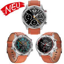 Smartwatch Fitnesstracker Pulsuhr Armbanduhr braun-silber für Android und IOS