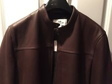 Authentic Coach Mens Brown Mahogany Leather Moto Racer Jacket Large NWT Hardware