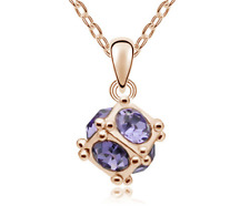 Fashion Womens Cube Crystal Rhinestone Gold colour Chain Pendant Necklace HOT @