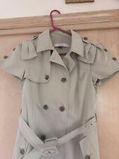 R.E.D. VALENTINO Beigh Long Double Breasted/Belted Jacket With Cap Sleeves