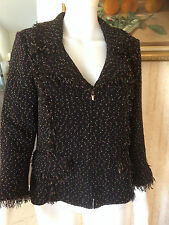 St. John Jacket Sweater Blazer Knit Black Mix Size 6 Zipper closure