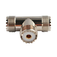 UHF SO239(for PL259) Female to 2xUHF Jack 3 Way T Type RF Coax Adapter Connector