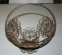 """Vintage Wrought Iron Flower Basket With Integral Handle 10-1/2"""" W X 10-1/2"""" T"""