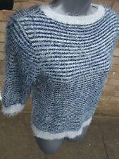 ATMOSPHERE PRIMARK ladies womens blue stripy jumper top size 10 warm fluffy