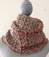 "crochet handmade COWL SCARF TAUPE MULTI soft BULKY chunky WOOLSPUN yarn 9"" X 78"""