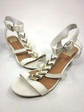 DOLCE VITA, HELIA WEDGE SANDAL, WOMENS, BONE LEATHER, US SIZE 9 M, PRE-OWNED