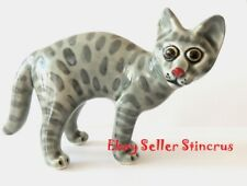 Egyptian mau �at gray spotted Author's Porcelain figurine New + Gift Box