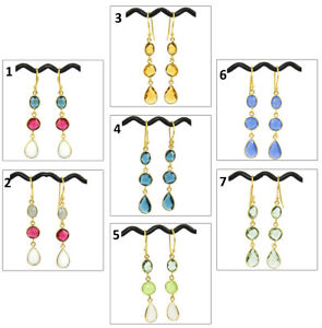Multi-Color Hydro Quartz Chalcedony Gold Plated Charms Bezel Drop Dangle Earring