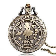 Alice in Wonderland Flower Girl Quartz Pocket Watch Gift Vintage Necklace Women