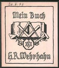 Exlibris H. R. Wehrhahn, Freimaurer Wappen