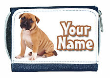 STAFFORDSHIRE BULL TERRIER PERSONALISED DENIM PURSE / MINI WALLET *NAMED GIFT *