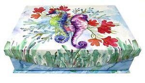 Punch Studio Rectangle Flip Top Nesting Box Ocean Garden Seahorse 44327 Small