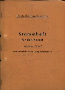 DRB/DRw/DB - Original-Kesselheft aus dem Betriebsbuch der Dampflok 50 048