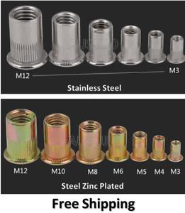 M3 4 5 6 8 10 12 Rivet Nuts Blind Nut Nutsert Rivnut Stainless Steel Zinc Plated