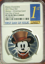 2017 Niue $2 Disney Mickey Christmas Carol Silver 1 Oz  NGC PF70 1st Day Issue