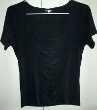Ladies Worship Size 12 Black Short Sleeve Top Runched Front