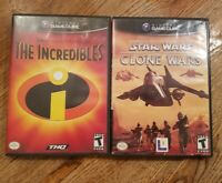 Lot of 2 Gamecube Games Star Wars: The Clone Wars The Incredibles Tested Works