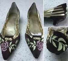 Faith Shoes Kitten Heel Slip On Brown Gold Embroidery Floral Uk 5 EUR 38 Wedding