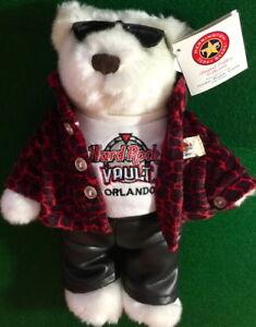 "Hard Rock Cafe VAULT ORLANDO 2003 City ROCKER Teddy Bear 10"" PLUSH Rare Tag #7"