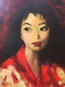 Vintage Dated 1972 Painting Asian Woman, Artist Signed Portrait Oil Painting