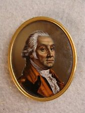 Antique 19c miniature reverse painting / glass George Washington painting