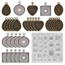 31X Oval Antique Silver Bronze Gold Cabochon Pendant Tray 25mm Blank Bezel Frame