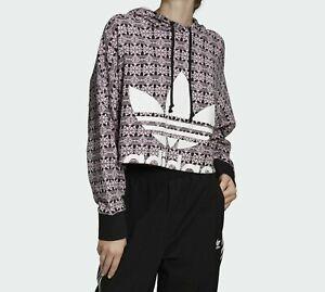 New adidas Originals Trefoil Allover Print Hoodie Women's Sport Pull Over Jacket