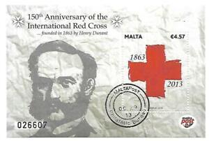 Malta ( 150 Anniversary of International Red Cross )  Cancelled Souvenir Sheet