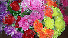 Joblot 24 Mixed colour Silk Artificial Rose Flower Bunches new wholesale