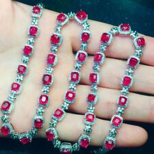 123Ct Cushion Cut Pink Red Ruby Simulnt Diamond Necklace Silver White Gold Fnsh