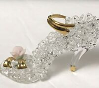 Miniature Spike High Heel Shoe Slipper Figure Figurine Art Glass Sculpture Rose