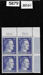 #5879   MNH Hitler stamp block / 1941 PF25 / Original Third Reich Germany Block