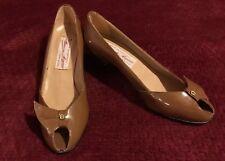 Authentic Aigner Vintage Shoes 1960s Classic Peep Toe Patent Leather Near Mint