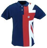 Trojan Records Navy Union Flag Front Pique Polo Shirts