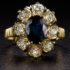 ANTIQUE SAPPHIRE OLD MINE CUT DIAMOND HALO COCKTAIL RING VINTAGE GOLD VICTORIAN