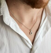 Men's necklace, silver Star of David chain necklace for men, Judaica from Israel