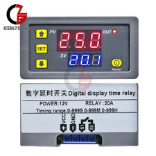 12V Thermostat 10A Digital LED Dual Display Cycle Delay Timer Relay 0-999 Hours