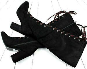 Womens Black Under Knee  Mid Block Heel Ladies Zip Leg Calf Boots Sizes UK 3-7
