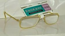 New Vintage 1990s Bright Brass Foster Grant +2.50 Reading Glasses Glass lens