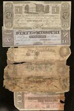 6 Pc Lot Damaged Confederate Obsolete Currency Notes Old Paper Money $1 $5 $10