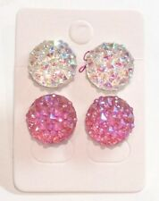 Screw Back (pierced) Resin Round Costume Earrings