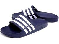 ADIDAS Duramo G15892 Navy/White Sandal Flip Flops Shower Slide sz8 9 10 11 12 13