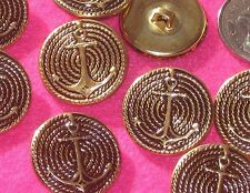 """Relief ANCHOR Fancy Set 9 Vintage new antiqued gold METAL buttons 15/16"""""""