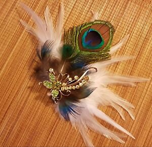Bridal Peacock Feather hairpiece. Crystal, Blue Green  feather Fascinator clip