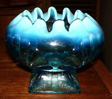 Jefferson Glass Blue Opalescent Shell And Dots Pedestal Rosebowl Rose Bowl 1905