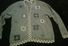 Ugly Tacky Christmas Sweater Green&White Trees Snowflakes Crosses Stars L(C1)