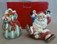 Fitz & Floyd Sugar Plum Santa Claus Toy Bag Salt and Pepper Shaker Figurine