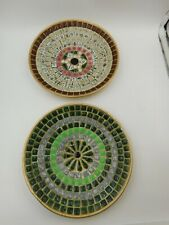 "Lot of 2 Vintage Decorative Handcrafted Mosaic 7.5"" Bowls / Dishes ~ Home Decor"